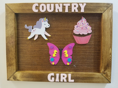 COUNTRY BOY/GIRL WOOD PLAQUE