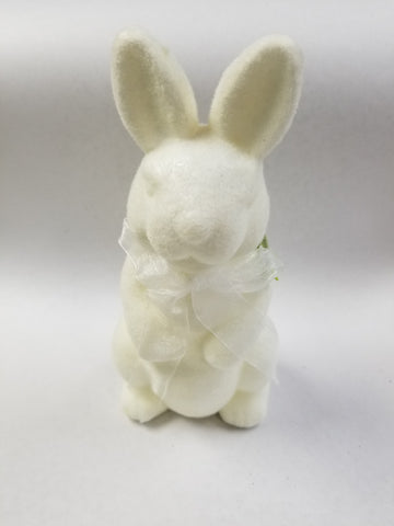 "10"" FLOCKED FOAM RABBIT DECOR- WHITE"