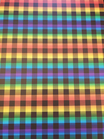 "STAHLS CAD-CUT HTV VINYL  20"" X 12"" SHEET BUFFALO PLAID RAINBOW"