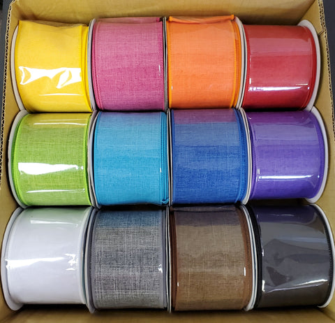 12 ROLL 2.5X10 SOLID ROYAL LINEN RIBBON BOX
