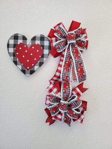 BUFFALO PLAID HEART BOW/SIGN KIT