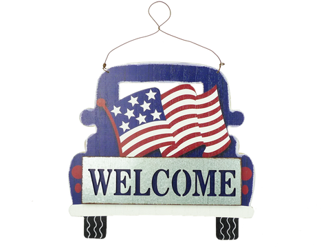 Wooden Flag On Truck Welcome Sign D0.5xW13xH12
