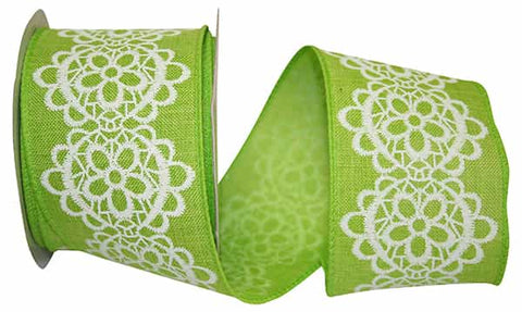 2.5X10 LINEN AND LACE WIRED EDGE GREEN/WHITE