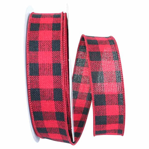 1.5x20 HEARTY BUFFALO PLAID MEDIUM WIRED EDGE red/blk