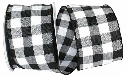 2.5X10 CELINE PLAID TWILL WIRED EDGE BLACK/WHITE