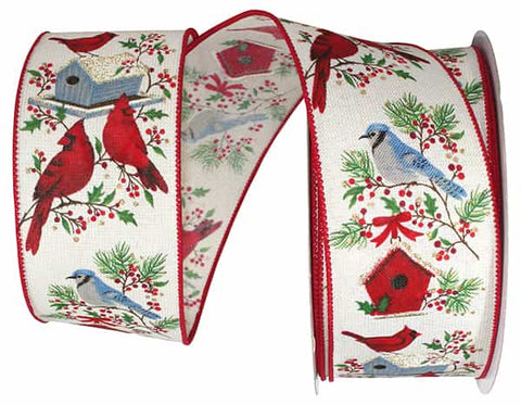 2.5X20 BIRDS HOUSE LINEN SPARKLE WIRED EDGE