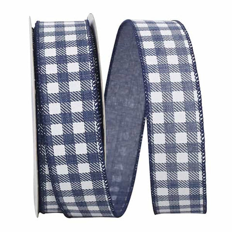 1.5x20 GINGHAM TWILL PRINT LINEN WIRED EDGE navy/white