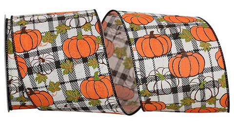 4x10 PUMPKIN PLAID TWILL WIRED EDGE