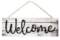 15X5 WHITE WASH WELCOME SIGN