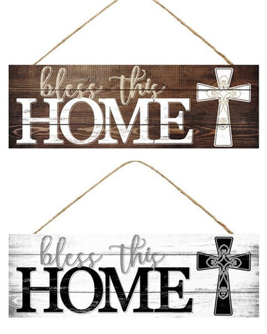 "15""L X 5""H BLESS THIS HOME/CROSS SIGN"