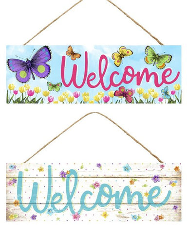 "15""L X 5""H WELCOME BUTTERFLY/FLOWER SIGN"