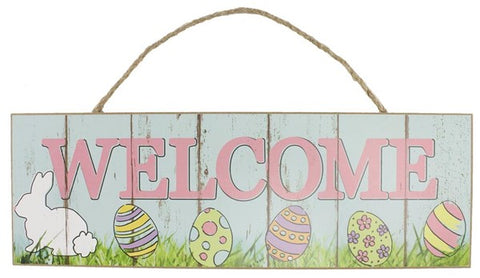 "15""L X 5""H WELCOME W/BUNNY SIGN PASTEL TURQUOISE/PINK/GRN"