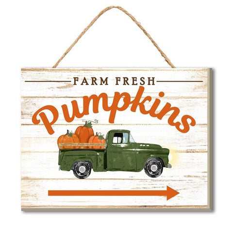 "6.5""L X 5""H Farm Fresh Pumpkins/Arrow"