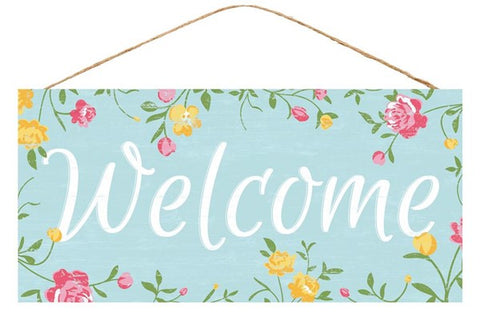 "12.5""Lx6""H WELCOME FLORAL SIGN"