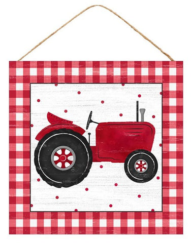 "10"" SQ RED TRACTOR/GINGHAM SIGN"