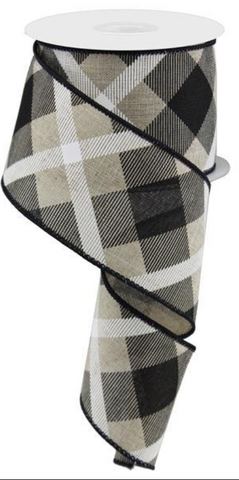 "TAN/BLACK PRINTED PLAID 2.5""X10yd"
