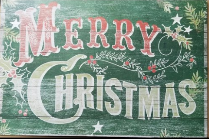 MERRY CHRISTMAS PLAQUE 20 x 13