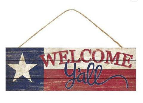"TEXAS/ WELCOME Y'ALL SIGN 15"" X 5"""