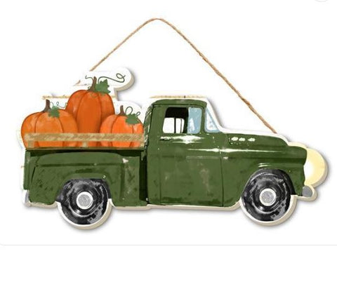 "VINTAGE TRUCK W PUMPKIN SIGN 10"" X 5"""