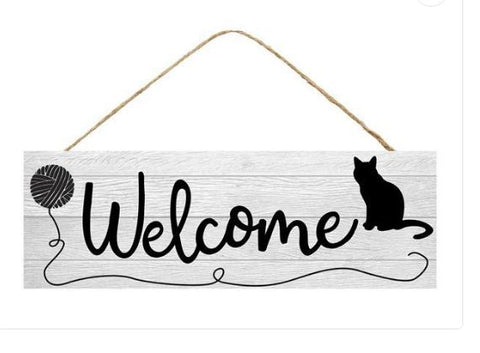 "WELCOME CAT WITH YARN SIGN 15"" X 5"""