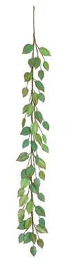 METAL ELM LEAF GARLAND, 5'; VERDE 5 IN.