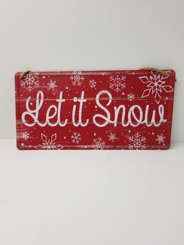 LET IT SNOW METAL SIGN