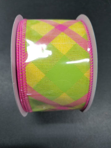 GREEN PINK YELLOW PLAID 2.5x10