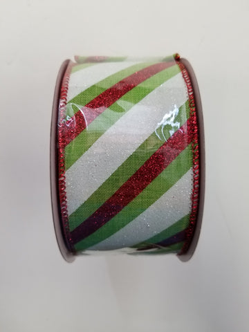 2.5X10 RED/GRN/WHT GLITTER CANDY CANE STRIPE