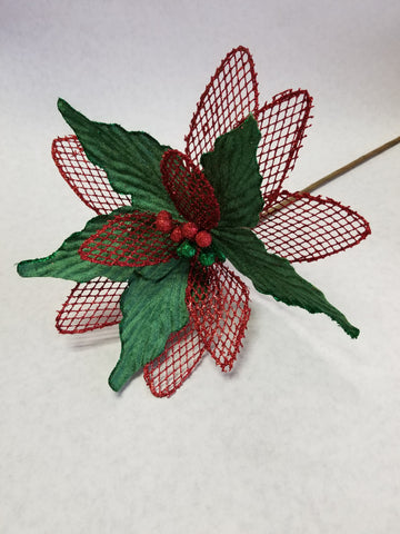 RED/GREEN GLITTER FLORAL PICK 26""