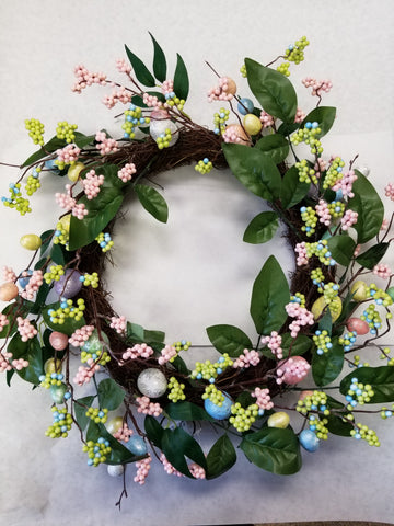"20"" Vine Wreath w/ Egg, Berry, Leaves - Pink / Green"