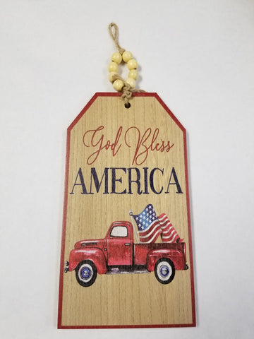 6.5WX12H GOD BLESS AMERICA TAG SIGN