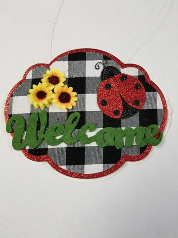LADYBUG SUNFLOWER WELCOME SIGN 9.5Wx7.5H