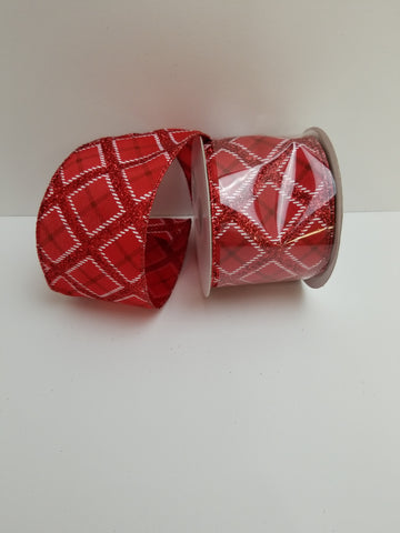 RED STN RED GLIT PLAID 2.5X10
