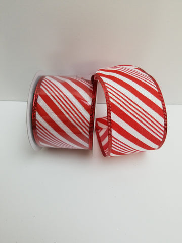 WHITE RED CANDY CANE STRIPE 2.5X10 YD