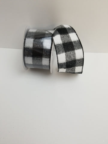 BLACK WHITE BRUSHED PLAID 2.5X10