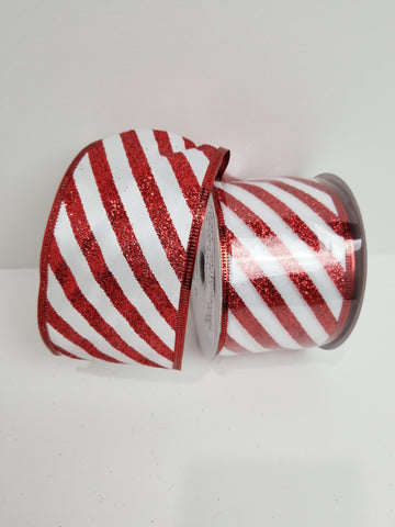 WHITE SATIN GLIT CANDY STRIPE 2.5X10