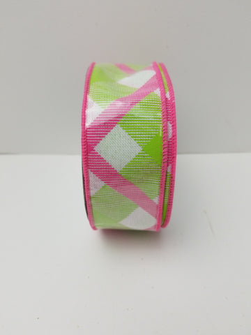 GREEN AND PINK PLAID 1.5X10