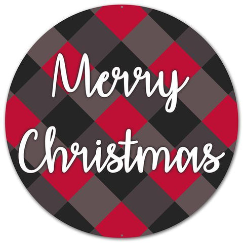 "12"" MERRY CHRISTMAS BOLD PLAID SIGN"
