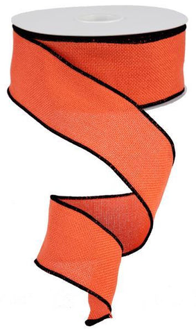 2.5X10 FAUX BURLAP RIBBON ORANGE/BLACK