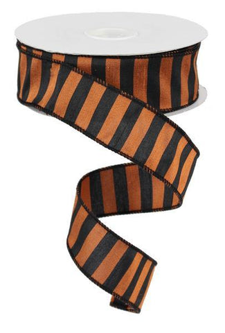 1.5X25 DUPIONI STRIPE BLACK/ORANGE