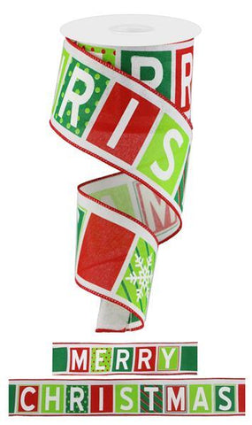 2.5X10 MERRY CHRISTMAS BLOCKS WHITE/RED/LIME/EMERALD