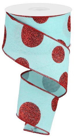 2.5X10 GLITTER MULTI DOT ICE BLUE/RED