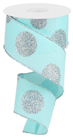 2.5X10 GLITTER MULTI DOT ICE BLUE/SILVER