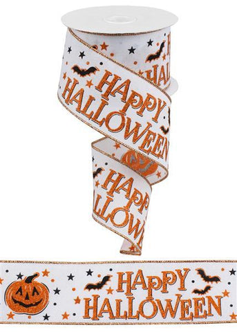2.5X10 HAPPY HALLOWEEN WHT/ORANGE/BLK