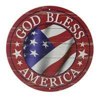 "12""DIA GOD BLESS AMERICA SIGN RED"