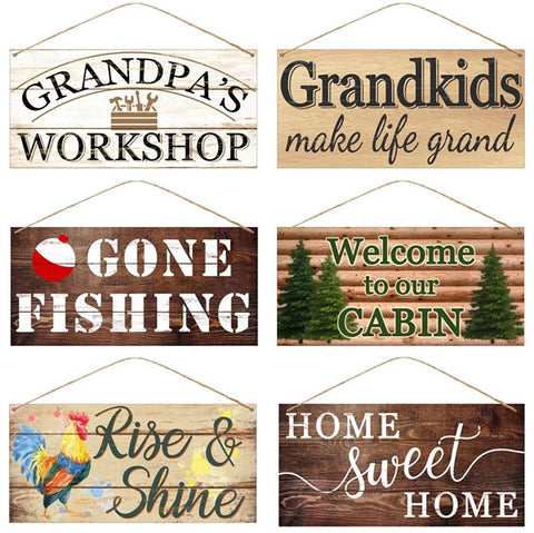 "12""L X 6""H TIN GRANDKIDS/HOME SIGNS"