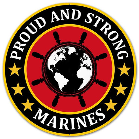 "12""DIA METAL PROUD AND STRONG MARINES"