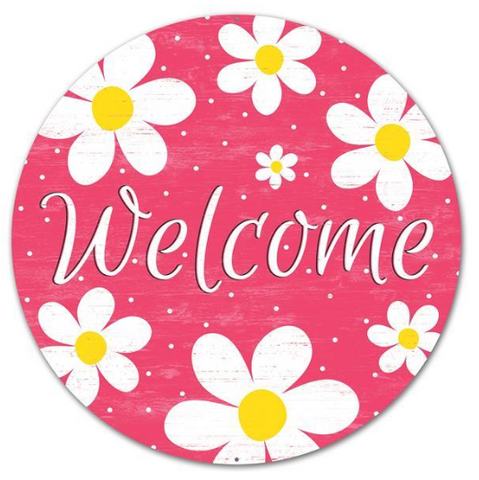 WELCOME PINK DAISY SIGN