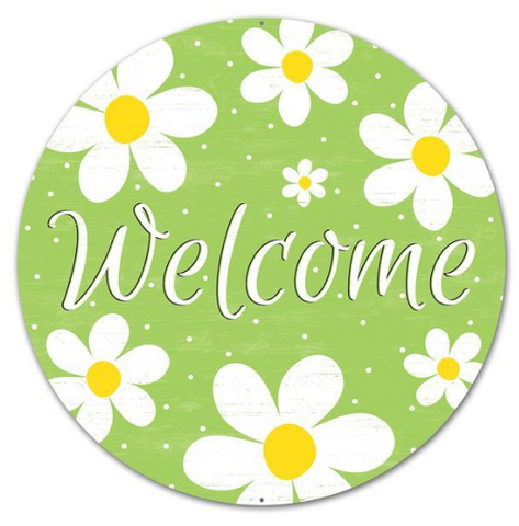 WELCOME GREEN DAISY SIGN
