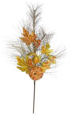 "AUTUMN PINE SPRAY WITH GOURDS & FALL LEAVES, 33""; AUTUMN 33 IN."